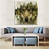 Imprimir en Lienzo Timberwolves Wall Art Picture Living Room decoración del hogar,50x50cm,Pintura sin Marco
