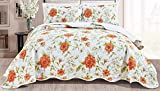 3-Piece Fine Printed Oversize (115' X 93') Quilt Set Reversible Bedspread Coverlet King Size Bed Cover (Sage Green, White, Orange, Floral)