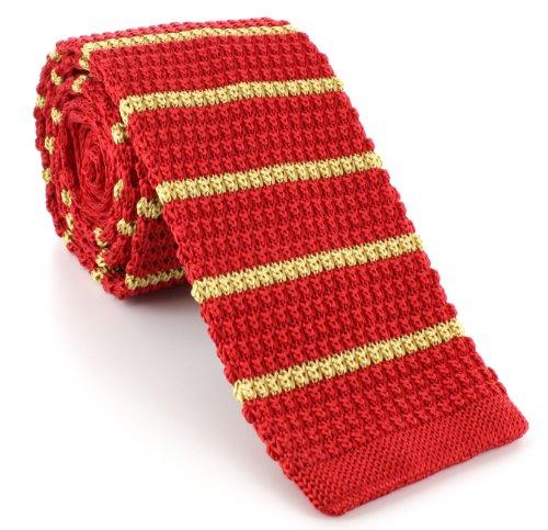 Michelsons of London Rouge/Jaune soie tricoté rayé maigre cravate de