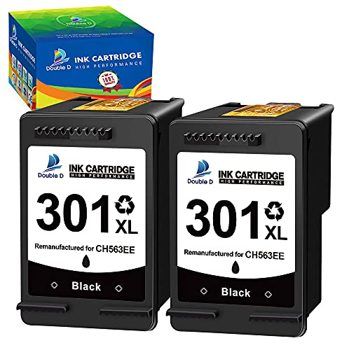 DOBLE D 301XL Remanufacturado negro de repuesto para cartucho de tinta HP 301 XL para HP DeskJet 1000 1050 2050 2050A 2540 3000 3050 3050A 3510 Envy 4500 4502 5530 OfficeJet 2620 4630 4632. (2 negros)