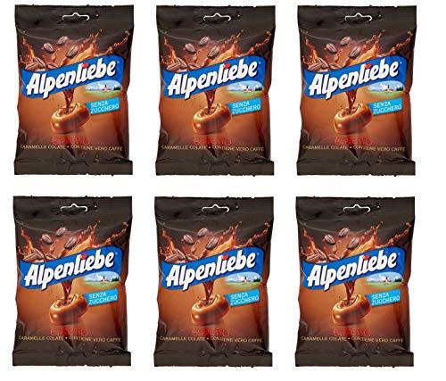 6x Perfetti Alpenliebe Espresso Caramelle Colate senza zucchero Bonbon mit echtem Kaffee zuckerfreie Süßigkeiten Lollies 80g Beutel