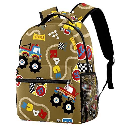 Pequeñas mochilas de dibujos animados coche carreras Speedway bolsas con bolsillos para niñas y mujeres