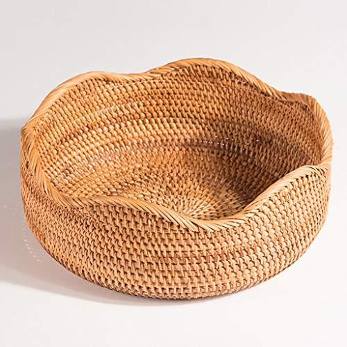 YYHSND Fruit Basket Rattan Woven Bread Basket Vintage Storage Basket Fruit tray (Size : L)