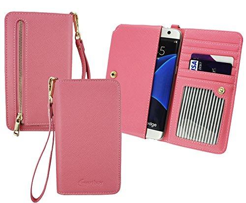Emartbuy® Baby Rosa PU Leder Kupplung Geldbörse Hülle Tasche Sleeve (Größe 3XL) Mit Münzfach, Kartensteckplätze & Abnehmbare Handschlaufe Geeignet Für Slok C3 Dual SIM Smartphone