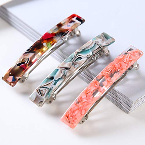 Tortoise Shell Hair Barrettes Medium French Design Rectangular Automatic Hair Clip for Women,3 Pieces/set