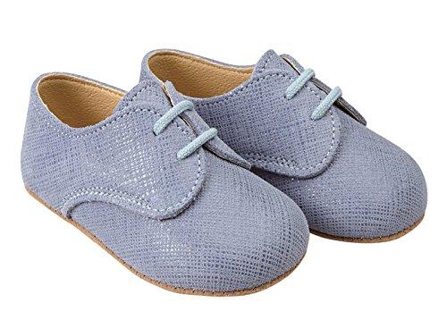 Scarpine primi passi Early Days in vera pelle Lino colore Blu prodotte nel Regno Unito - Thomas circa misure 16