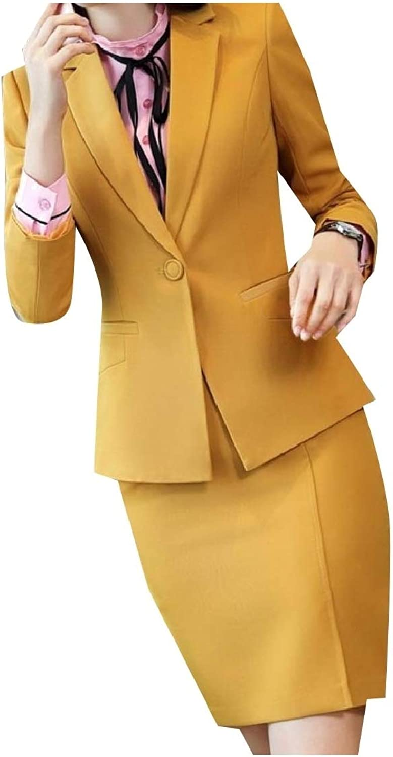 Freely Womens Work Office Solid Button Blazer High Waisted Skirt Set