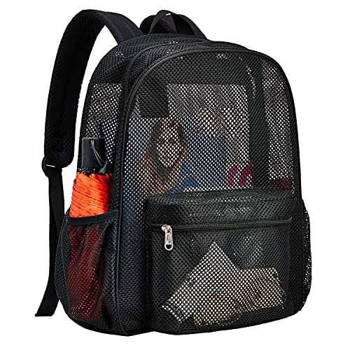 Heavy Duty Semi-Transparent Mesh Backpack,See Through College Student Backpack (black)