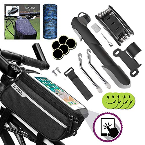 Zzone-1 Bike Tool Kit,Bicycle Pump,Tyre Puncture Repair Kit,16 in 1 Bike Multifunction Tool With Patch Kit,Mountain cycle Frame handlebar Front Tube Pouch Bag.