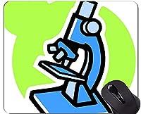 抽象的な科学化学イラストマウスパッドパーソナライズ、ステッチエッジを持つ顕微鏡マウスパッド