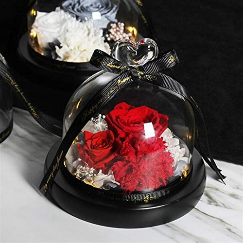 FSLLOVE FANGSHUILIN Mutter-Tagesgeschenk Der Schönheit und Tier Rose Ewige Rose mit Nachtlicht im Glaskuppel Geburtstags-Geschenk (Color : 123)