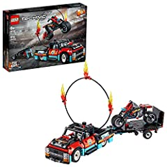 Kids will love competing with friends to perform the ultimate leap through flames with this amazing LEGO Technic toy building set that includes a pull-back motorbike, a truck, a trailer and ring of fire for stunt-action fun! The trailer cleverly tran...