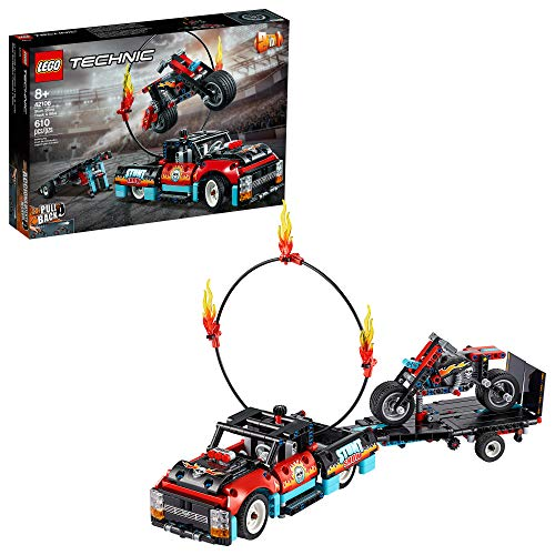 LEGO Technic Stunt Show Truck & Bike 42106 Vehicle Building Set Includes Toy Stunt Motorcycle, Toy Truck and Trailer, New 2020 (610 Pieces)