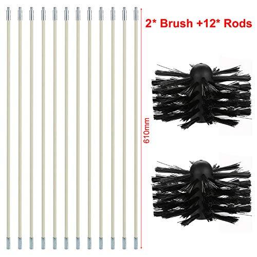 Chimney Typhoon Power Sweeping Set Original Schornsteinbürste Bohrmaschine Dreh-Reinigungswerkzeug Kits mit Nylon-Flexstäben, 610mm 12 rods + 2 Brush Heads
