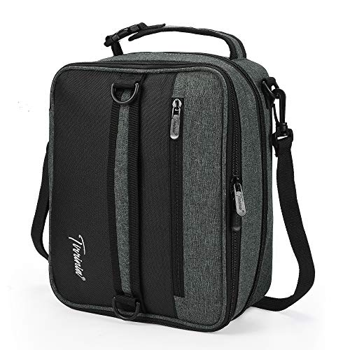 Expandable Insulated Lunch Bag, Leakproof Flat Lunch Cooler Tote with Shoulder Strap for Men and Women, Suitable for Work & Office by Tirrinia, Charcoal