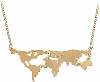 Fashion Gold Silver Black World Map Pendant Necklace World Continents Necklace Personality Gift