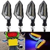 NATGIC Motocicleta Señales de Giro Moto Universal Lámpara LED Luz Trasera Luz Intermitente Indicadores Lámparas Ámbar Amarillo Luz de giro Luz Intermitente y Azul Luces Diurnas (paquete de 4)