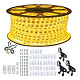 PCAFRS 150ft LED Strip Lights, Waterproof, Cuttable, Low Voltage, Christmas Rope Lights, 1620LEDs Rope Lighting with Power Supply for Indoor Wedding Christmas Party Outdoor Decorations, Yellow, 45m