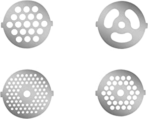4 Piece Stainless Steel Meat Grinder Plate Discs for Food Chopper and Meat Grinder Machinery Parts,fits KitchenAid FGA Food Meat Grinder Chopper Attachment(Plastic version not applicable)