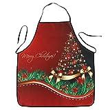 OULII Delantal Navidad Impermeable Delantal Cocina Motivos Arbol de Navidad
