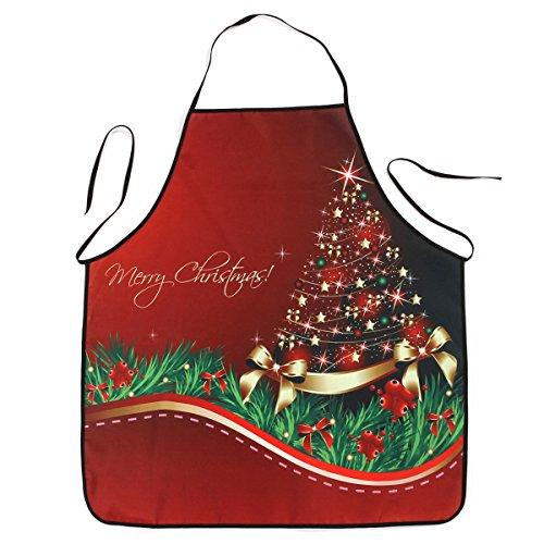OULII Weihnachtsschürze Weihnachtsbaum Bowknot Gedruckt Wasserdichte Schürze für Küche Restaurant Abendessen Kochen Backen