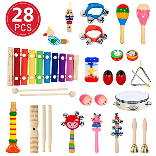 28 Stück Musikinstrumente Holz Percussion Set Schlagzeug Schlagwerk Spielzeug Set Kinder...