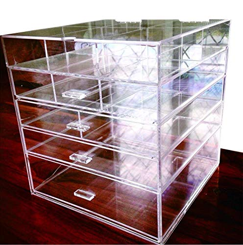 Cq acrylic Large 5 Drawers and 11 Grids Acrylic Makeup Organizer 10'x10'x11',Pack of 1