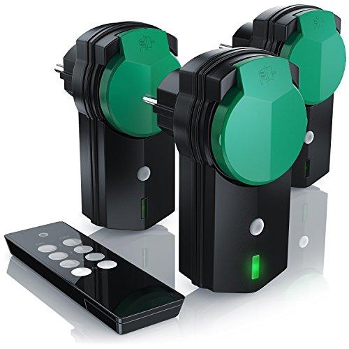 CSL - Outdoor Funksteckdosen Set 3 1 - für den Außenbereich - 3x Funkschalter-Steckdosen inkl. Fernbedieung - LED-Statusanzeige - Kindersicherungsschutz - 3680W - IPX4 - schwarz grün matt
