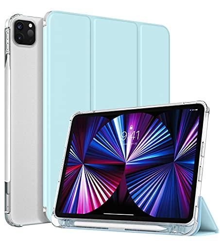 TiMOVO Funda Compatible con iPad Pro 11 Inch 2021 (3rd Gen), Cubierta de Tres Plegables de TPU Suave con Portalápiz y Auto Sueño/Estela - Azul Claro