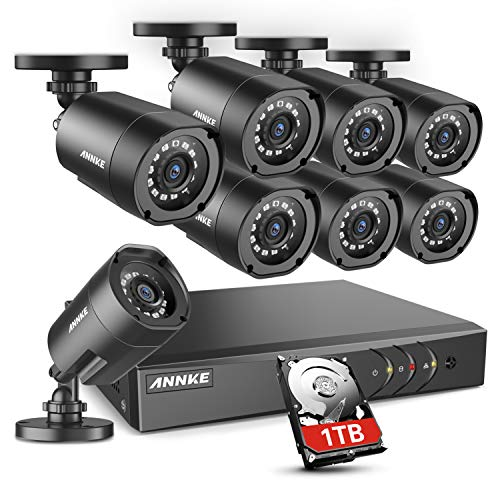 ANNKE 5MP Lite Home Security Camera System 8 Channel H.265+ DVR and 8X1920TVL 1080P Outdoor IP66 Weatherproof CCTV Cameras, Smart Playback, Instant Email Alert with Images, 1TB Hard Drive-S300