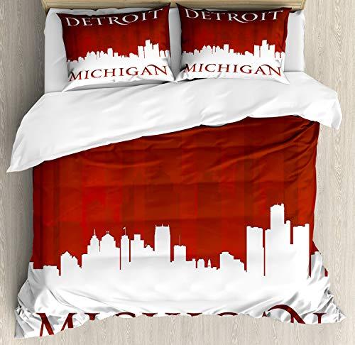 ABAKUHAUS Detroit Bettwäsche Set für Doppelbetten, Michigan City Letters, Weicher Microfaserstoff Allegigeignet kein Verblassen, 230 x 220 cm, Rot und weiß