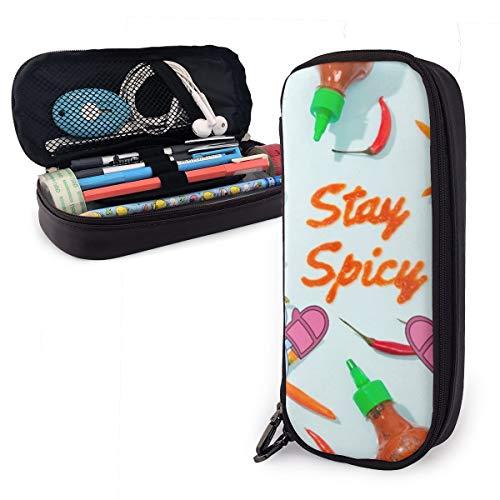 Chili Sauce Stay Spicy Federmäppchen für Jungen und Mädchen, groß, Stifteetui für Studenten, College, Schulbedarf und Büro