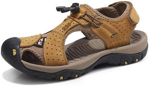 Fuxitoggo Herren Sandalen   Sommer Herren Leder Strand Sandalen Outdoor Sports Walking Trekking Sandalen Geschlossene Zehe (Farbe   1, Größe   40) (Farbe   1, Größe   EU 40)