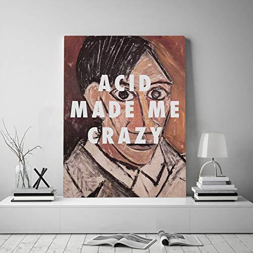 PLjVU Retrato Cita Lienzo póster Pintura Mural Arte decoración Sala de Estar Dormitorio Estudio hogar-Sin marco45X60 cm
