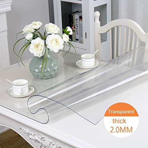 Zacht transparant pvc-rechthoekig tafelkleed, gezonde en milieuvriendelijke salontafel, verjaardags- of tuintafel. 90x140cm C