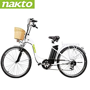NAKTO 26″ Electric Bike 6 Speed Electric Bikes for Adults 250W High Speed Ebike City Electric Bicycle with 36V10AH Removable Lithium Battery and 1 Year Warranty