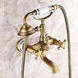 Handdusche mit Keramik Ventil Zwei Griffen Zwei Bohrungen für Messing antik Wasserhahn, Dusche/Badewanne Armatur enthalten
