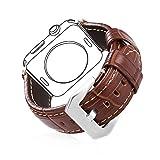 bandmax Für Apple Watch Armband 38mm/40mm, Braunes Echtes Lederarmband mit Edelstahl...