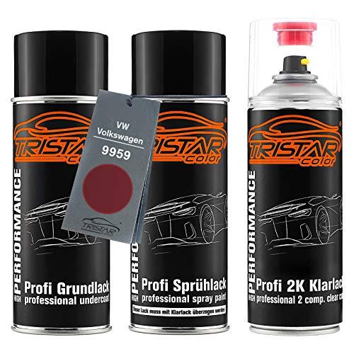 TRISTARcolor Autolack 2K Spraydosen Set für VW/Volkswagen 9959 Hotchilirot Perl/Hot Chili Red Perl Grundlack Basislack 2 Komponenten Klarlack Sprühdose