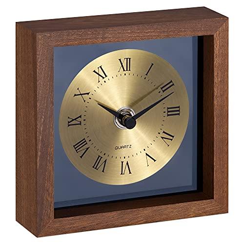 Navaris Reloj de Mesa Retro - Reloj Vintage de Madera analógico - Decorativo para sobremesa de mesilla de Noche salón - Diseño Antiguo