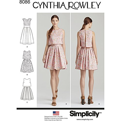 Simplicity 8086 Women's Cocktail Dress Sewing Patterns by Cynthia Rowley, Sizes 12-20