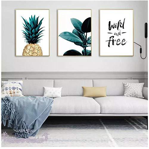 DLFALG Nórdico dorado piña hojas verdes lienzo pintura pared arte letras citas carteles e impresiones plantas imágenes para sala de estar-40x50cmx3 sin marco