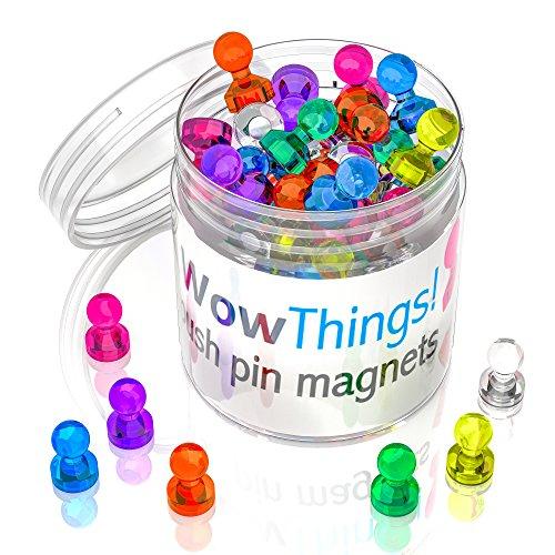 lado y mapa Push Pin Imanes, Assorted Color magnético de neodimio de 28 (fuerte pequeño chinchetas, perfecto para pizarra blanca, calendario y frigorífico