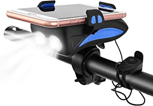 CS Force Bike Light Set Bicycle Front Light USB Rechargeable Waterproof Cycling Headlight with Loud Sound Siren & 3 Lighting Modes, 5 Sounds, Fits Mountain Road Bike