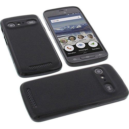 foto-kontor Tasche für Doro 8040 Gummi TPU Schutz Handytasche schwarz
