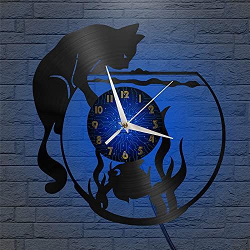 Gato Captura de Peces Tema Vinilo Record Reloj de Pared, Reloj de Pared para la Cocina Casa Sala de Estar Dormitorio Escuela(B, con LED) Hecho a Mano para Hombres Mujer Amigos Niños