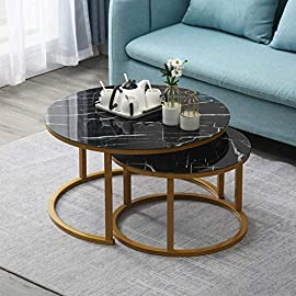 Amazing Tour Modern Marble Pattern Black Gold Coffee Table,Movable creative round combined living room table, Sofa table