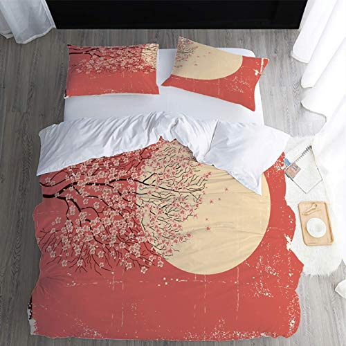 MENGBB Bedding Duvet Cover Set 3D Print Pink peach tree moon - 79' x 79' Total 4 Size, give away pillowcase, Fashion Duvet Cover Bedding Set - Duvet Cover and Pillowcase Microfibre 3D Digital Print Th
