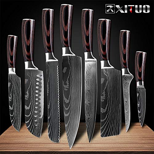 Ancient vine green 1 Stück Küche Chef Messer Set 8-Zoll-japanischen 7CR17 440C High Carbon Edelstahl Damaskus Laser-Muster-Slicing Santoku-Tool (Color : 8 PCS Value Set)
