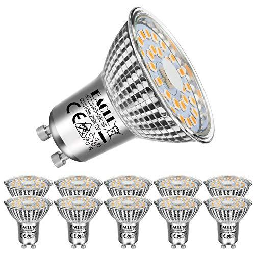EACLL GU10 LED 6W 2700K Warmweiss Leuchtmittel 605 Lumen Birnen kann Ersetzen 55W Halogen. AC 230V Kein Strobe Strahler, Abstrahlwinkel 120 ° Reflektor Lampen, Warmweiß Licht Spotleuchten, 10 Pack
